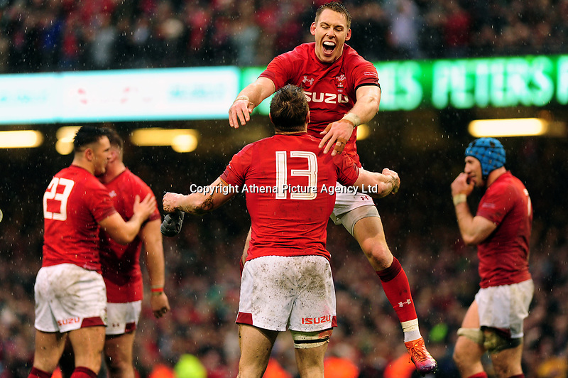 Pictured: Liam Williams of Wales celebrates at full time with Jonathan Davies of Wales during the Guinness six nations match between Wales and Ireland at the Principality Stadium, Cardiff, Wales, UK.<br /> Saturday 16 March 2019