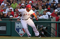 Los Angeles Angels second baseman Howie Kendrick #47 leads off first base during game against the New York Yankees at Angel Stadium on June 4, 2011 in Anaheim,California. Larry Goren/Four Seam Images