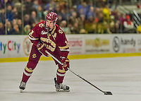 20 February 2016: Boston College Eagle Defenseman Ian McCoshen, a Junior from Faribault, MN, takes a shot during the first period against the University of Vermont Catamounts at Gutterson Fieldhouse in Burlington, Vermont. The Eagles defeated the Catamounts 4-1 in the second game of their weekend series. Mandatory Credit: Ed Wolfstein Photo *** RAW (NEF) Image File Available ***