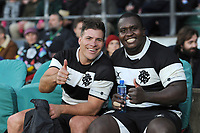Schalk Brits of Barbarians (Stormers & South Africa) looks pleased at the result with Trevor Nyakane of Barbarians (Bulls & South Africa) during the Killik Cup match between the Barbarians and Argentina at Twickenham Stadium on Saturday 1st December 2018 (Photo by Rob Munro/Stewart Communications)