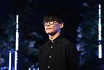 """August 5, 2019, Tokyo, Japan - Ichiro Yamaguchi, a member of a rock band Sakanaction attends an opening event of an installation """"Roof Top Orchestra"""" at the Ginza Six shopping mall in Tokyo as he produced it on Monday, August 5, 2019. Roof Top Orchestra, a sound and light installation at the rooftop garden on the 13 story Ginza Six building, will be carried through October 31.   (Photo by Yoshio Tsunoda/AFLO)"""