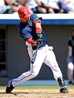 18 March 2007: Washington Nationals catcher Jesus Flores in action against the Florida Marlins at Space Coast Stadium in Viera, Florida...Mandatory Photo Credit: Ed Wolfstein Photo
