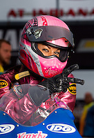 Aug 31, 2014; Clermont, IN, USA; NHRA pro stock motorcycle rider Angie Smith during qualifying for the US Nationals at Lucas Oil Raceway. Mandatory Credit: Mark J. Rebilas-USA TODAY Sports