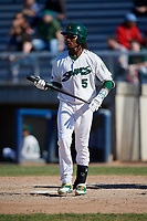 Beloit Snappers right fielder JaVon Shelby (5) at bat during a game against the Bowling Green Hot Rods on May 7, 2017 at Pohlman Field in Beloit, Wisconsin.  Bowling Green defeated Beloit 6-2.  (Mike Janes/Four Seam Images)