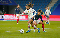 LE HAVRE, FRANCE - APRIL 13: Sophia Smith #2 of the United States moves with the ball during a game between France and USWNT at Stade Oceane on April 13, 2021 in Le Havre, France.