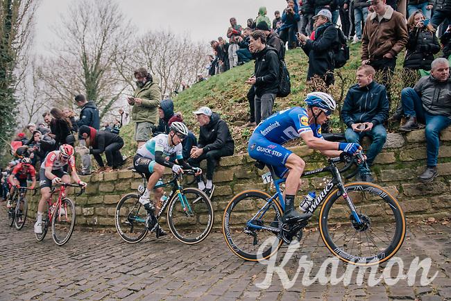 Zdeněk ŠTYBAR (CZE/Deceuninck-Quick Step) charging up the infamous Kapelmuur<br /> <br /> 74th Omloop Het Nieuwsblad 2019 <br /> Gent to Ninove (BEL): 200km<br /> <br /> ©kramon