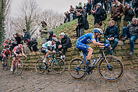 Zdeněk ŠTYBAR (CZE/Deceuninck-Quick Step) charging up the infamous Kapelmuur<br /> <br /> 74th Omloop Het Nieuwsblad 2019 <br /> Gent to Ninove (BEL): 200km<br /> <br /> ©kramon