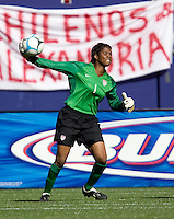 Briana Scurry throws the ball out of the box. USA defeated Brazil 2-0 at Giants Stadium on Sunday, June 23, 2007.