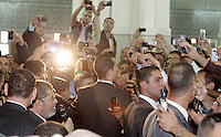 Il presidente egiziano Mohamed Morsi, in basso a sinistra, parla ai fedeli radunati nella Grande Moschea di Roma, 14 settembre 2012..Egyptian President Mohamed Morsi, bottom left, talks to faithful gathered inside the Great Mosque in Rome, 14 September 2012..UPDATE IMAGES PRESS/Riccardo De Luca