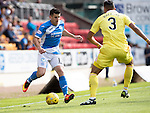 St Johnstone v Hearts…17.09.16.. McDiarmid Park  SPFL<br />Michael Coulson takes on Faycal Rherras<br />Picture by Graeme Hart.<br />Copyright Perthshire Picture Agency<br />Tel: 01738 623350  Mobile: 07990 594431