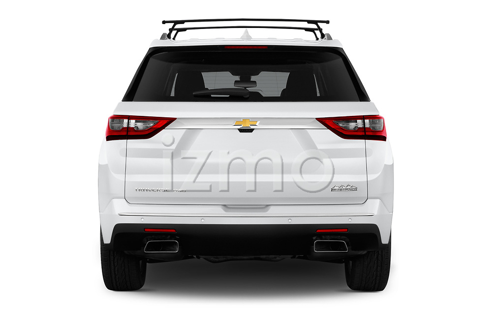 Straight rear view of a 2018 Chevrolet Traverse High Country 5 Door SUV stock images