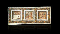 Picture of a Roman mosaics design depicting scenes from mythology, from the ancient Roman city of Thysdrus. End of 2nd century AD, House in Jiliani Guirat area. El Djem Archaeological Museum, El Djem, Tunisia. Against a black background<br /> <br /> This Roman mosaic depicts Aurore enticing Cephane, Apollo enticing Cyrene and Apollo persuing Daphne