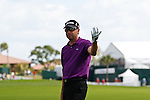 PALM BEACH GARDENS, FL. - Robert Allenby reacts to his shot from the fairway during Round Two  play at the 2009 Honda Classic - PGA National Resort and Spa in Palm Beach Gardens, FL. on March 6, 2009.
