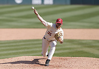 Arkansas Ryan Costeiu (35) throws a pitch, Saturday, April 3, 2021 during the eighth inning of a baseball game at Baum-Walker Stadium in Fayetteville. Check out nwaonline.com/210404Daily/ for today's photo gallery. <br /> (NWA Democrat-Gazette/Charlie Kaijo)