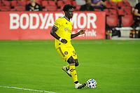 WASHINGTON, DC - OCTOBER 28: Aboubacar Keita #30 of Columbus Crew SC moves the ball during a game between Columbus Crew and D.C. United at Audi Field on October 28, 2020 in Washington, DC.