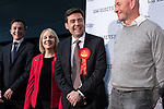 © Joel Goodman - 07973 332324 . 05/05/2017 . Manchester , UK . SEAN ANSTEE , JANE BROPHY and ANDY BURNHAM take to the stage at the declaration . The count for council and Metro Mayor elections in Greater Manchester at the Manchester Central Convention Centre . Photo credit : Joel Goodman
