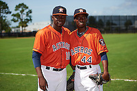 GCL Astros pitchers Dariel Aquino (10) and Enoli Paredes (44) pose for a photo before the first game of a doubleheader against the GCL Mets on August 5, 2016 at Osceola County Stadium Complex in Kissimmee, Florida.  GCL Astros defeated the GCL Mets 4-1 in the continuation of a game started on July 21st and postponed due to inclement weather.  (Mike Janes/Four Seam Images)