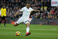 Jordan Ayew of Swansea City takes a shot which hit the bar during the Premier League match between Watford and Swansea City at the Vicarage Road, Watford, England, UK. Saturday 30 December 2017