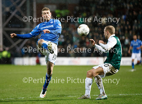 Hibs v St Johnstone...30.01.16   Utilita Scottish League Cup Semi-Final, Tynecastle..<br /> David Wotherspoon and Dylan McGeouch<br /> Picture by Graeme Hart.<br /> Copyright Perthshire Picture Agency<br /> Tel: 01738 623350  Mobile: 07990 594431