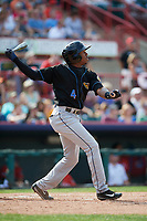 Akron RubberDucks center fielder Greg Allen (4) hits a double off the wall during a game against the Erie SeaWolves on August 27, 2017 at UPMC Park in Erie, Pennsylvania.  Akron defeated Erie 6-4.  (Mike Janes/Four Seam Images)