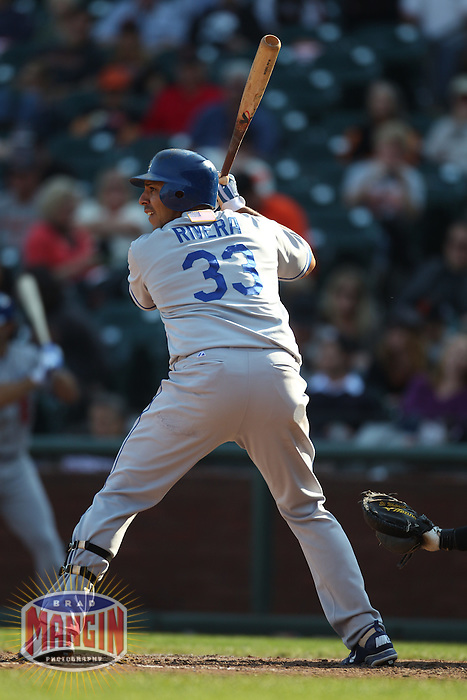 SAN FRANCISCO - SEPTEMBER 11:  Juan Rivera #33 of the Los Angeles Dodgers bats against the San Francisco Giants during the game at AT&T Park on September 11, 2011 in San Francisco, California. Photo by Brad Mangin