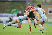 20130512 Copyright onEdition 2013©.Free for editorial use image, please credit: onEdition..David Strettle of Saracens is tackled by Luther Burrell (left) and Ken Pisi of Northampton Saints during the Premiership Rugby semi final match between Saracens and Northampton Saints at Allianz Park on Sunday 12th May 2013 (Photo by Rob Munro)..For press contacts contact: Sam Feasey at brandRapport on M: +44 (0)7717 757114 E: SFeasey@brand-rapport.com..If you require a higher resolution image or you have any other onEdition photographic enquiries, please contact onEdition on 0845 900 2 900 or email info@onEdition.com.This image is copyright onEdition 2013©..This image has been supplied by onEdition and must be credited onEdition. The author is asserting his full Moral rights in relation to the publication of this image. Rights for onward transmission of any image or file is not granted or implied. Changing or deleting Copyright information is illegal as specified in the Copyright, Design and Patents Act 1988. If you are in any way unsure of your right to publish this image please contact onEdition on 0845 900 2 900 or email info@onEdition.com