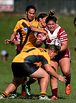 Aleasha Brider of Papakura is tacked by Sarina Fiso Clark.  Premier Women's Rugby League, Papakura Sisters v Manurewa Wahine, Prince Edward Park, Auckland, Sunday 13th August 2017. Photo: Simon Watts / www.phototek.nz