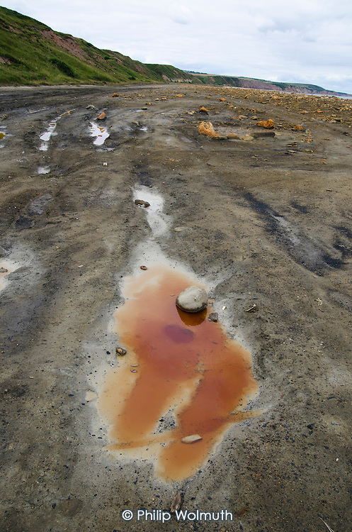 A pool of polluted water on the beach at Easington Colliery, County Durham.  The beach was used to dump coal waste until the pit close in 1993.  Pollution persists despite a subsequent clean-up programme.