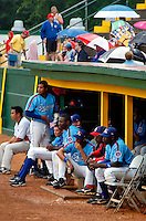 """22 July 2005: In a tribute to the Montreal Expos, the Single-A, NY-Penn League Vermont Expos hosted the New Jersey Cardinals at historic Centennial Field, in Burlington, Vermont. The event saw the Expos play in quasi-throwback powder-blue jerseys, and featured Andre """"The Hawk"""" Dawson as special guest for the game. The Expos fell to the Cards 11-3 in the first game of the 3-game series. Mandatory photo credit: Ed Wolfstein"""