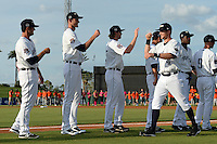 Lakeland Flying Tigers designated hitter Bobby Borchering (4) during introductions before a game against the Tampa Yankees on April 9, 2015 at Joker Marchant Stadium in Lakeland, Florida.  Tampa defeated Lakeland 2-0.  (Mike Janes/Four Seam Images)