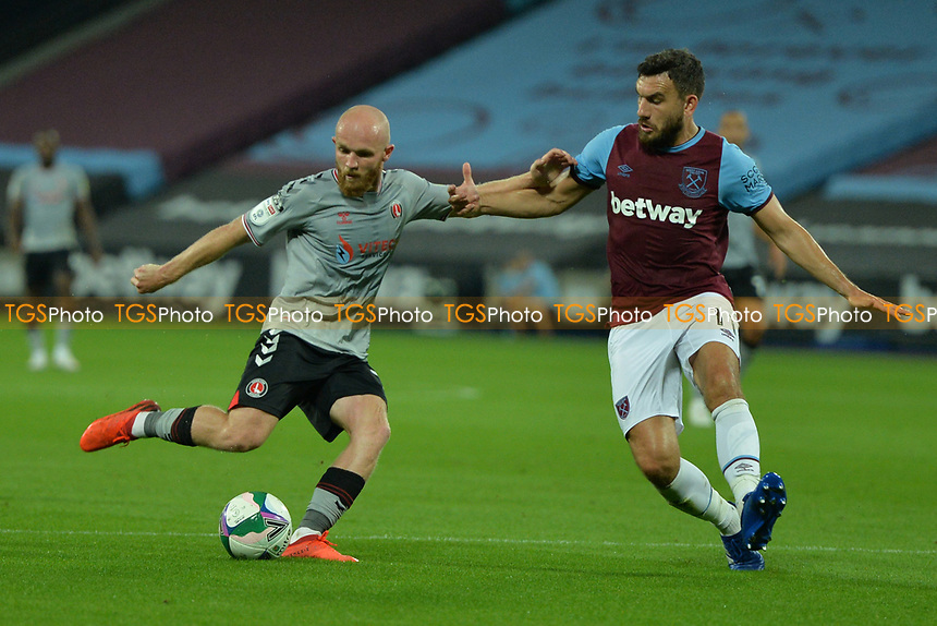 Jonathan Williams of Charlton Athletic FC shoots during West Ham United vs Charlton Athletic, Caraboa Cup Football at The London Stadium on 15th September 2020