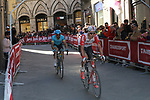 Riders round the final corner to finish in Siena Strade Bianche 2019 running 184km from Siena to Siena, held over the white gravel roads of Tuscany, Italy. 9th March 2019.<br /> Picture: Seamus Yore   Cyclefile<br /> <br /> <br /> All photos usage must carry mandatory copyright credit (© Cyclefile   Seamus Yore)