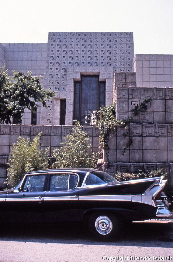 Frank Lloyd Wright:  Ennis-Brown House.  Textile block walls around exterior. Street view.  Photo 1976.