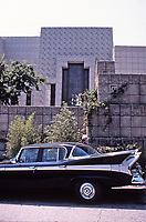Frank Lloyd Wright:  Ennis-Brown House.  Textile block walls around exterior. Street view.  Photo 1976.