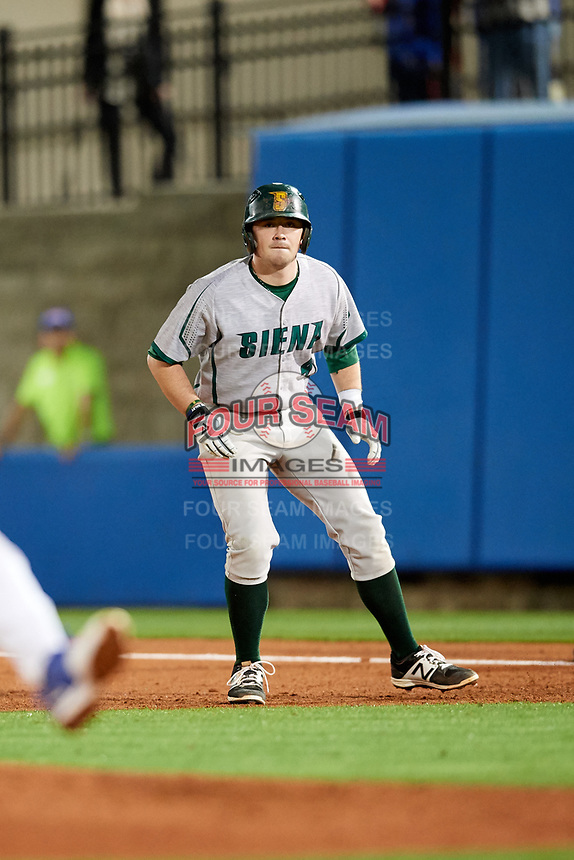 Siena Saints second baseman Jordan Bishop (4) leads off first base during a game against the Florida Gators on February 16, 2018 at Alfred A. McKethan Stadium in Gainesville, Florida.  Florida defeated Siena 7-1.  (Mike Janes/Four Seam Images)