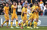 Mickey Demetriou of Newport Countycelebrates scoring his sides first goal of the match during the Sky Bet League Two match between Newport County and Notts County at Rodney Parade, Newport, Wales, UK. Saturday 06 May 2017
