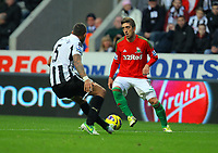 Saturday 17 November 2012<br /> Pictured: Pablo Hernandez of Swansea against Danny Simpson of Newcastle<br /> Re: Barclay's Premier League, Newcastle United v Swansea City FC at St James' Park, Newcastle Upon Tyne, UK.