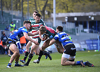 18th April 2021 2021; Recreation Ground, Bath, Somerset, England; English Premiership Rugby, Bath versus Leicester Tigers; Will Muir of Bath tackles Freddie Steward of Leicester Tigers