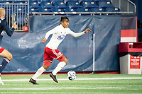 FOXBOROUGH, MA - OCTOBER 16: Dominick Hernandez #15 of North Texas SC makes a run at  goal during a game between North Texas SC and New England Revolution II at Gillette Stadium on October 16, 2020 in Foxborough, Massachusetts.