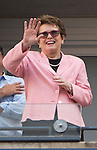 Billie Jean King watches as Victoria Azarenka (BLR) splits the first two sets against Angelique Kerber (GER) 7-5, 2-6 at the US Open in Flushing, NY on September 5, 2015.