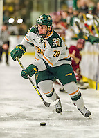 20 February 2016: University of Vermont Catamount Forward Anthony Petruzzelli, a Sophomore from Federal Way, WA, in second period action against the Boston College Eagles at Gutterson Fieldhouse in Burlington, Vermont. The Eagles defeated the Catamounts 4-1 in the second game of their weekend series. Mandatory Credit: Ed Wolfstein Photo *** RAW (NEF) Image File Available ***