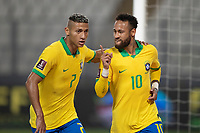 13th October 2020; National Stadium of Peru, Lima, Peru; FIFA World Cup 2022 qualifying; Peru versus Brazil; Neymar of Brazil celebrates his penalty kick goal with Richarlison in the 28th minute 1-1