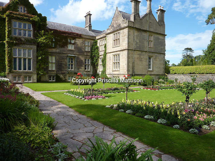 County Kerry, Republic of Ireland - July 19, 2010:  Muckross House faces its garden in Killarney National Park.