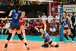 Middle blocker Mai Okumura of Japan (C) pass the ball during the FIVB Volleyball World Grand Prix match between Japan vs Russia on 23 July 2017 in Hong Kong, China. Photo by Marcio Rodrigo Machado / Power Sport Images