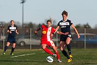 Western New York Flash midfielder McCall Zerboni (7) and Sky Blue FC midfielder Sophie Schmidt. Sky Blue FC defeated the Western New York Flash 1-0 during a National Women's Soccer League (NWSL) match at Yurcak Field in Piscataway, NJ, on April 14, 2013.