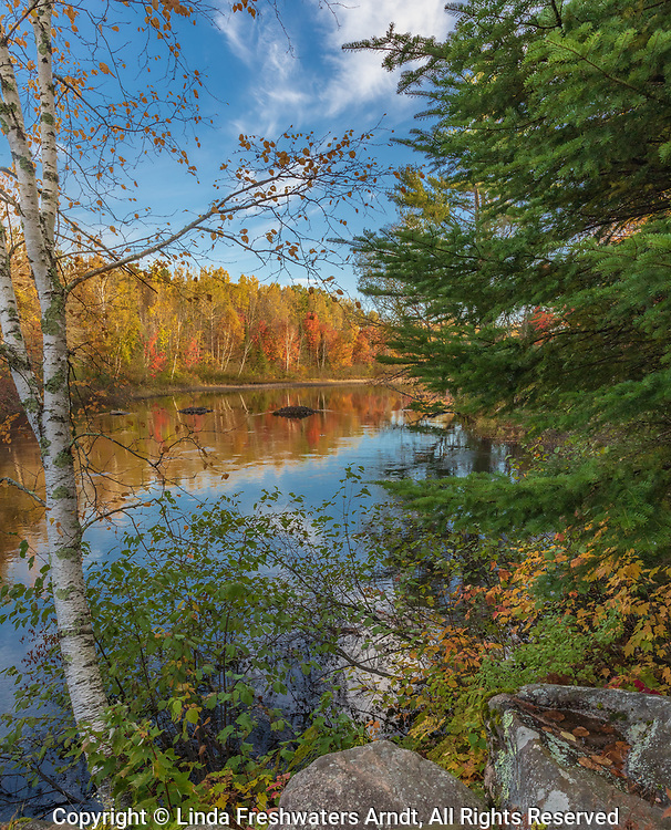 Fall colors on the Chippewa River in the Chequamegon National Forest.