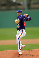 Clemson pitcher Scott Firth during a game versus the Boston College Eagles at Shea Field in Boston, Massachusetts on April 16, 2011.  Photo by Ken Babbitt /Four Seam Images
