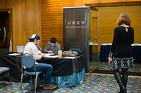 Uber representatives who asked not to be named wait to meet with military veterans at  the Recovering Warrior Employment Conference at the Back Bay Event Center in Boston, Massachusetts, USA. The employment conference was organized by Hiring Our Heroes and Wounded Warrior Project. Hiring Our Heroes is an initiative of the US Chamber of Commerce Foundation. Approximately 40 veterans registered for the event, during which they had interviews with a number of different regional and national employers, including GE, Bank of America, Uber, and others.