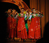 "Children of the privileged perform at the Children's Palace and School, Pyong Yan North Korea. North Korea is one of the last great dictatorships where, ""Our Dear Leader"" Kim-Jong-il and his father Kim Il-sung ""The Great Leader"" are worshipped and there is complete control of people who are constantly reminded of the evil deeds of the the west and USA."