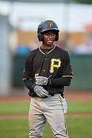 Bristol Pirates shortstop Victor Ngoepe (5) during the second game of a doubleheader against the Bluefield Blue Jays on July 25, 2018 at Bowen Field in Bluefield, Virginia.  Bristol defeated Bluefield 5-2.  (Mike Janes/Four Seam Images)